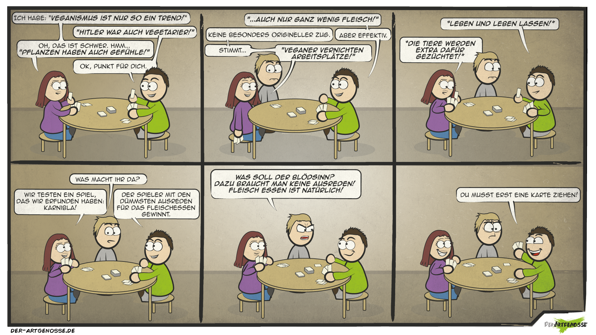 veganer Comic: schlechte Karten